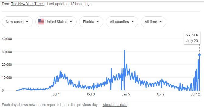 COvid stats ny times florida July